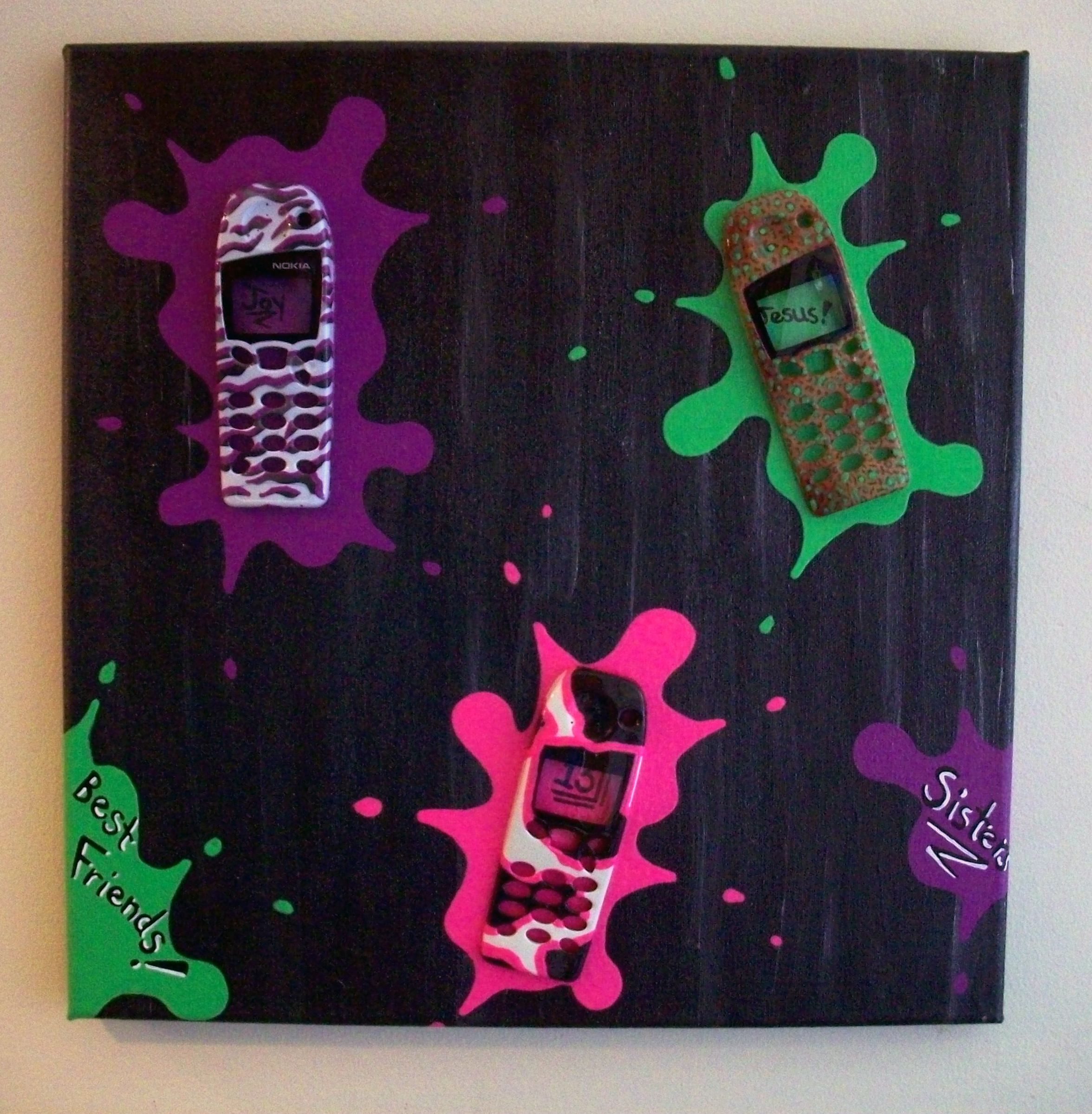 Joy's Painting featuring 3 animal print neon faceplates