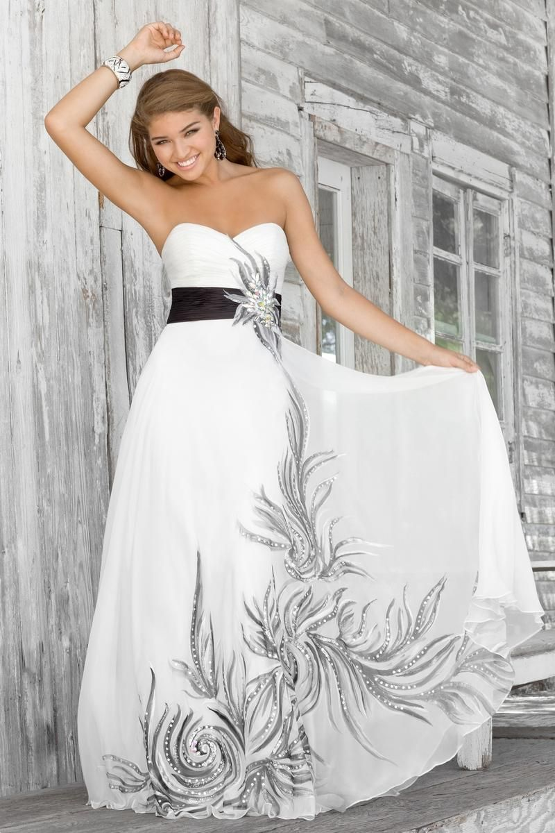 White dress with black sash and black gray detailing wedding
