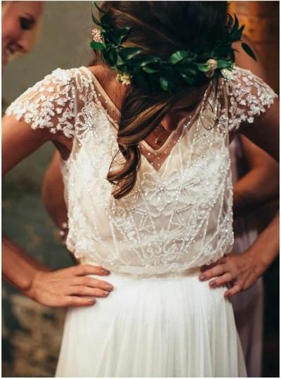 Photo of Brilliant White Wedding Dress Beaded Cap Sleeves Wedding Dress Floor Length Wedding Dress