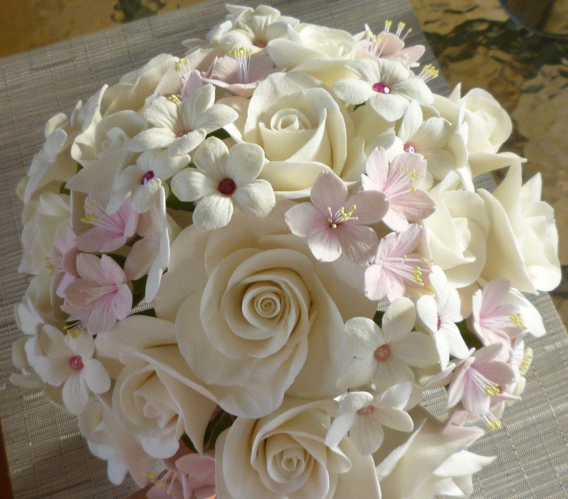Stephanotis W Crystals Pink Cherry Blossoms And White Rose Bridal Bouquet White Rose Bridal Bouquet White Wedding Flowers Rose Bridal Bouquet