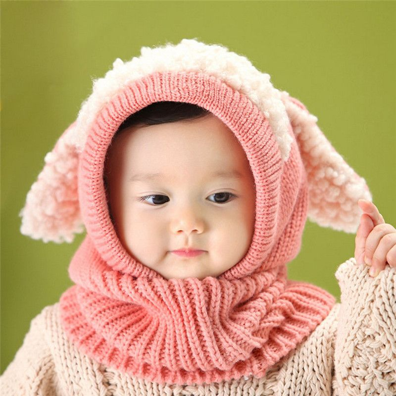 Winter Baby Hat Toddler Kids Hooded scarf  Knit Cap Warm Hat Kids Winter Hat New