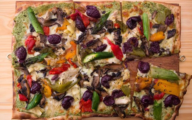The pizzas at Engruna Eatery are rectangular and crisp, topped with unexpected, tasty combinations.