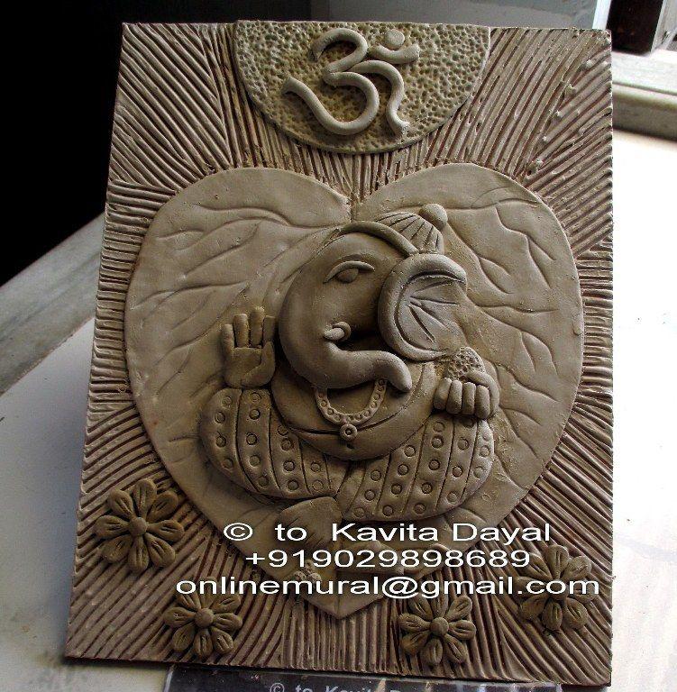 Ganesha made with air dry clay Clay wall art