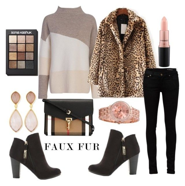 """""""Untitled #1674"""" by krissybob ❤ liked on Polyvore featuring French Connection, WithChic, Yves Saint Laurent, Burberry, Dina Mackney, Sonia Kashuk and MAC Cosmetics"""