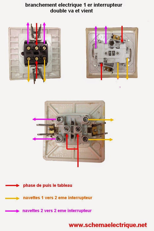 cablage double interrupteur va et vient va et vient en. Black Bedroom Furniture Sets. Home Design Ideas