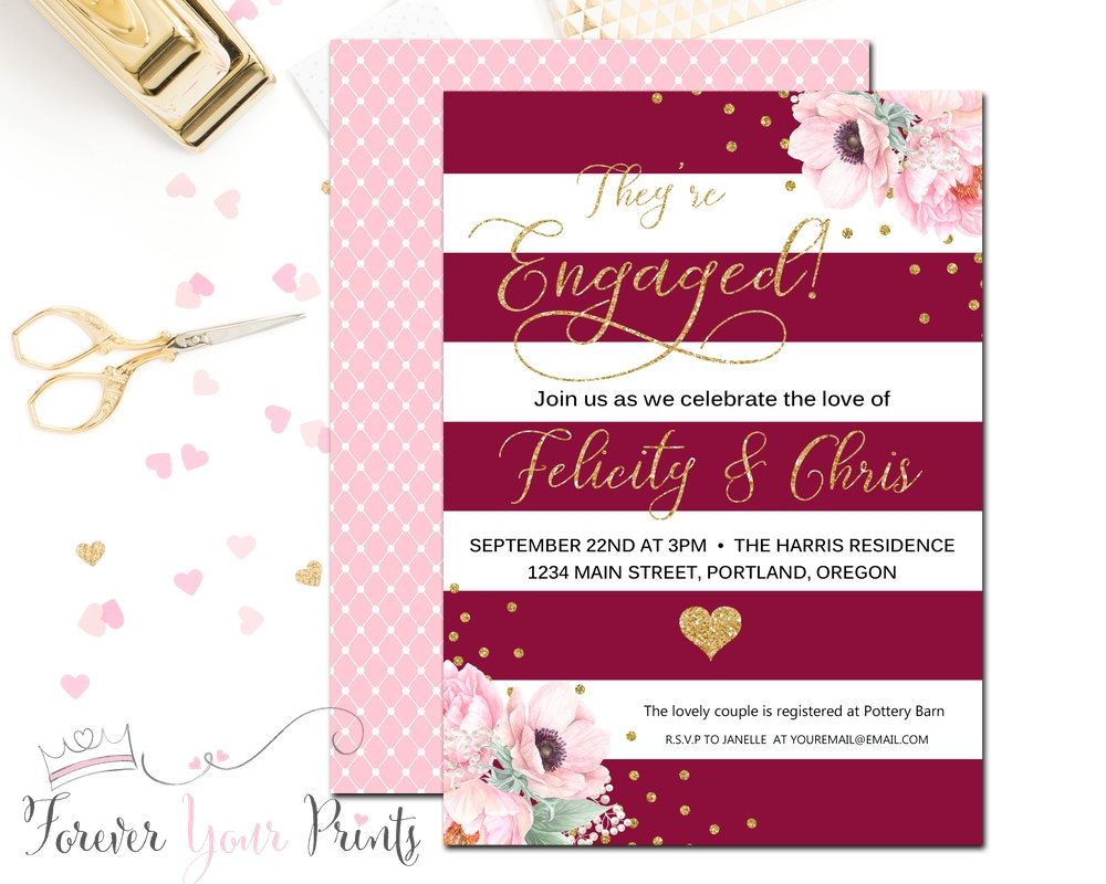 Floral Engagement Party Invitation Wedding by ForeverYourPrints ...