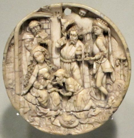 Early 16th century ivory carving of the Adoration of the