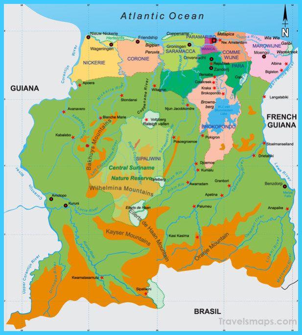Map Of Suriname Mapas Mapa Del Mundo Mapa Paises