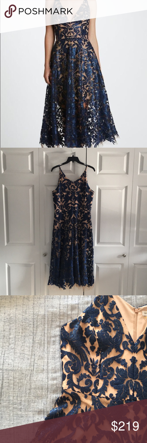 07082564712 Dress The Population Blair Sequin Lace Dress This chic Navy Blair Sequin  Lace Fit and Flare