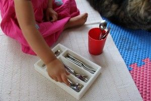Math Center- sort household items like silverwere by size or type.  Provide a large variety of utensils- plastic, silverware,  plastic utensils that look like they are real silverware -in a variety of sizes and designs.