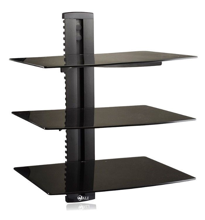 Floating Under Tv Shelf Wall Mount Glass Dvd Blu Ray Player Satellite Cable Box Wali Contemporary Floating Shelves Ikea Floating Shelves Floating Shelves Diy
