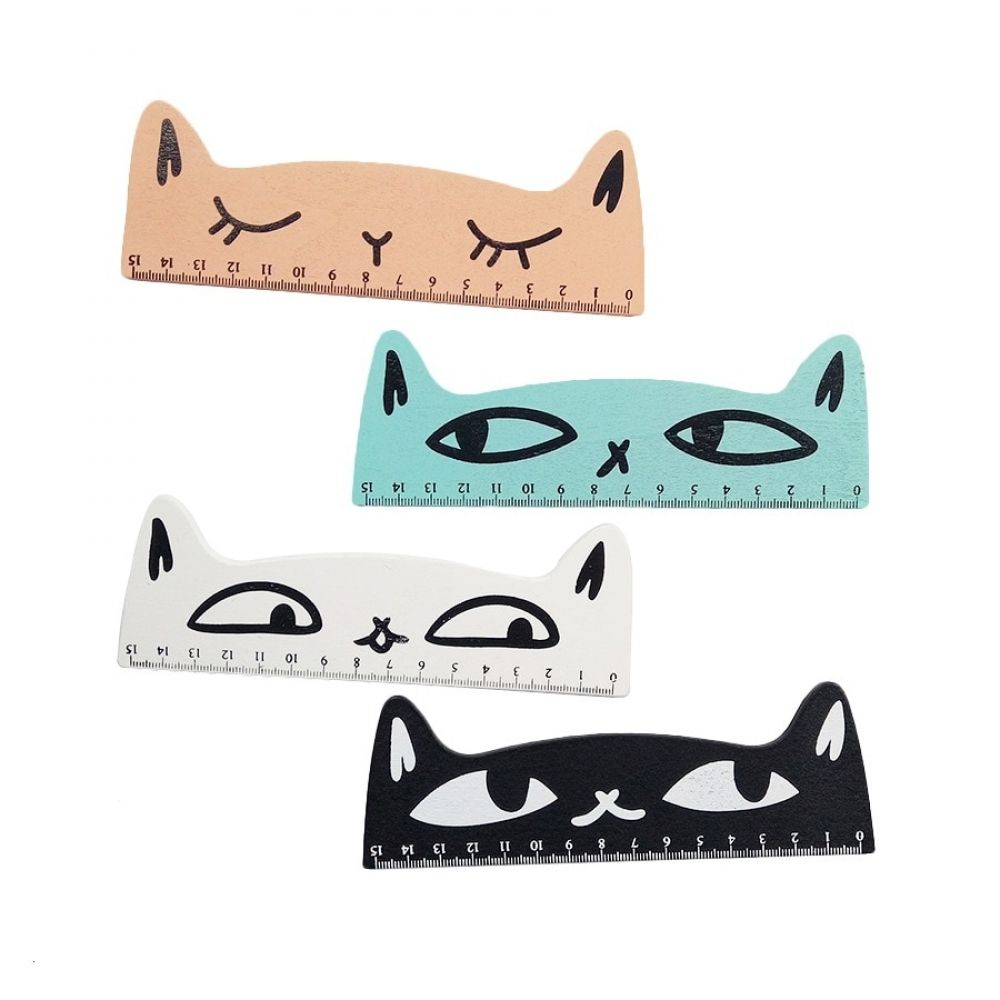 1 Pcs/lot Kawaii 15cm Cat Ruler Wooden Cartoon Straight