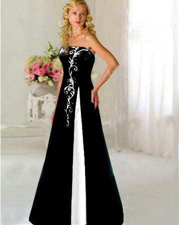 Custom Black White Embroidery Wedding Dress Bridal Gown Prom