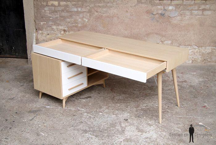 Bureau meuble style vintage scandinave chene clair pieds