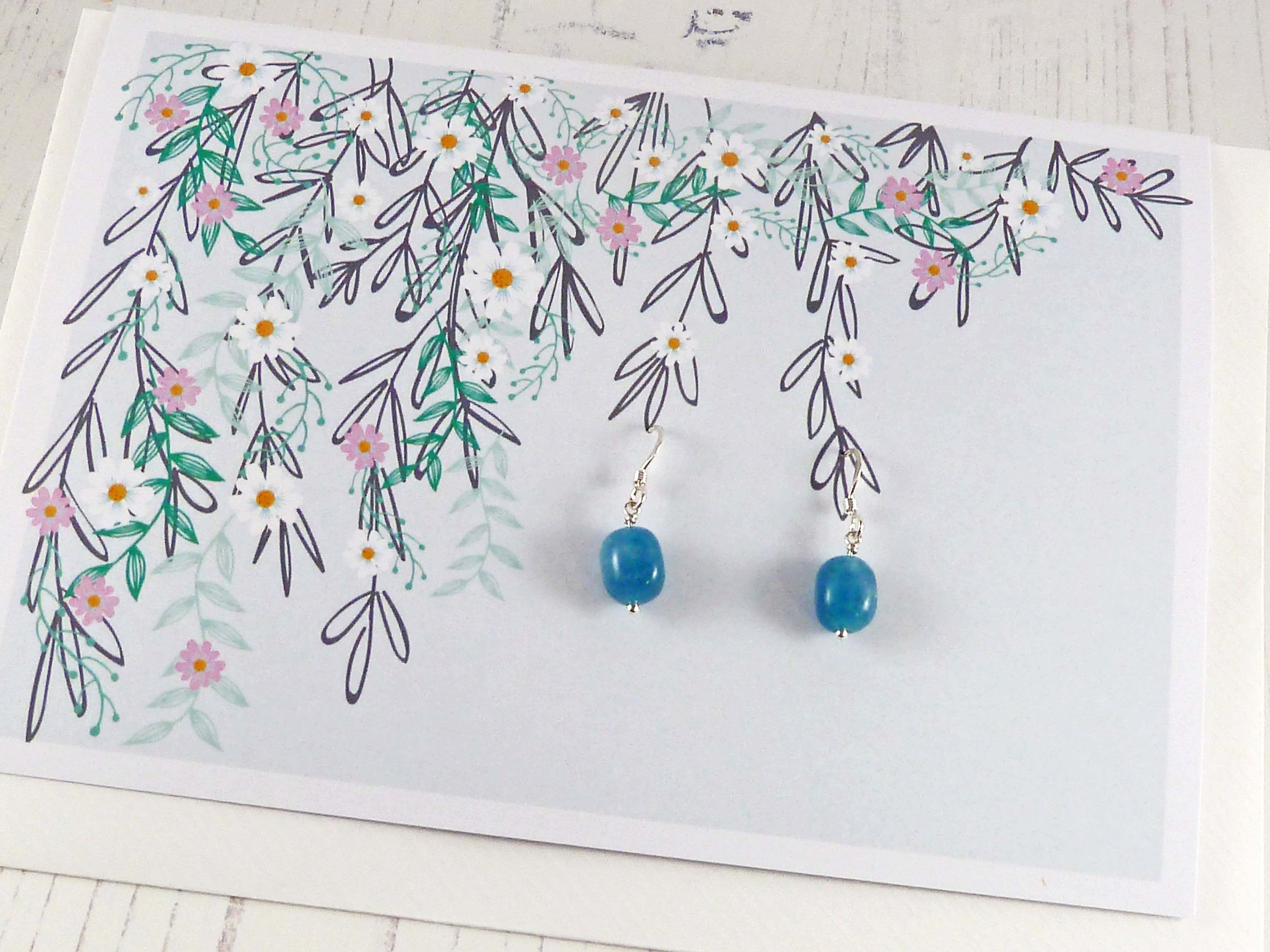 Greeting Card with Blue Dangle Earrings Birthday Card