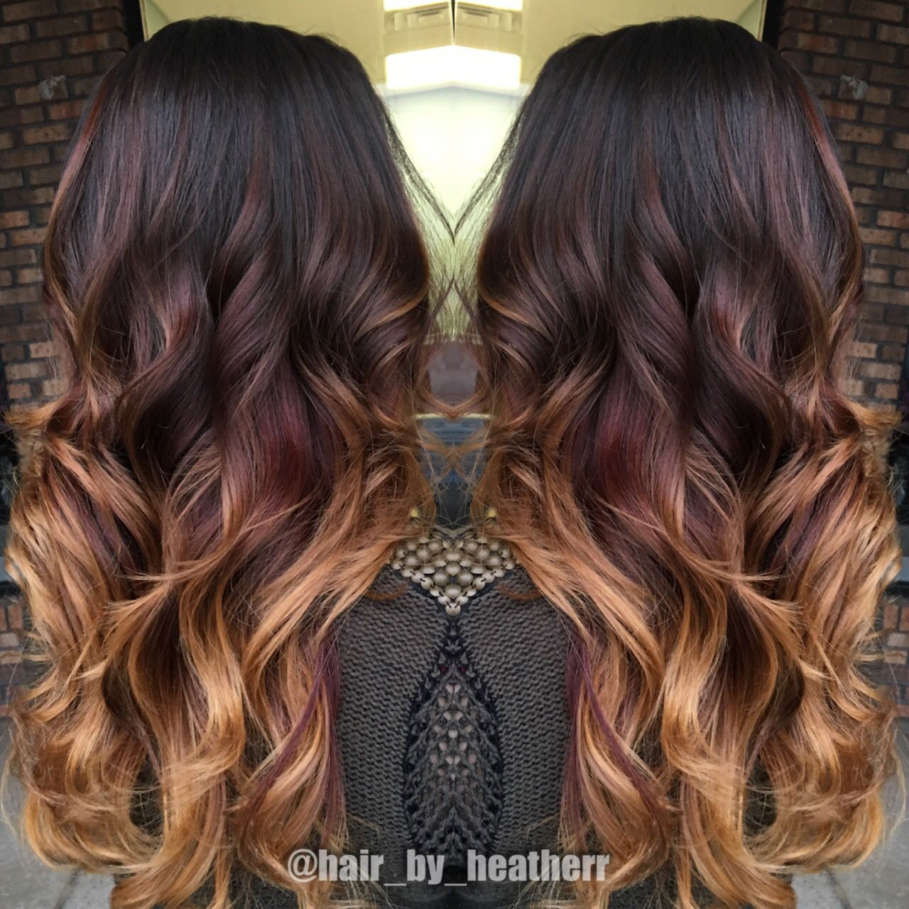 Dark chocolate to red to copper blonde ends! Beautiful balayage ombre!