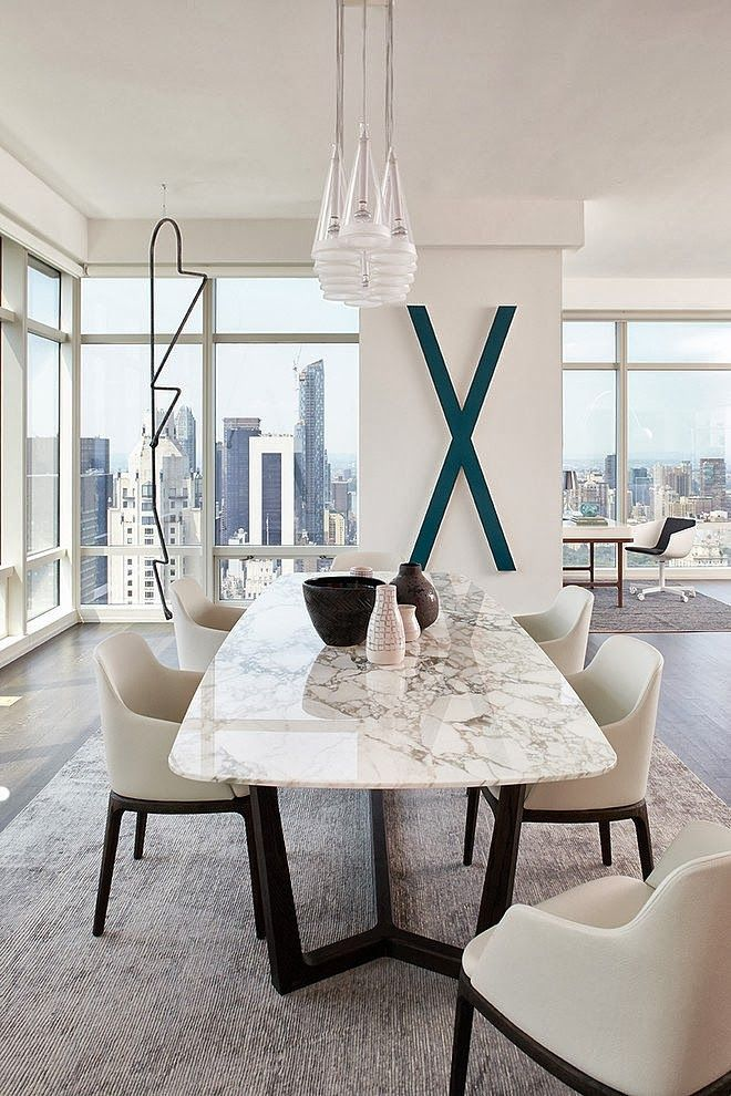 Modern Apartment By Tara Benet In New York Marble Dining Tables White Room Table