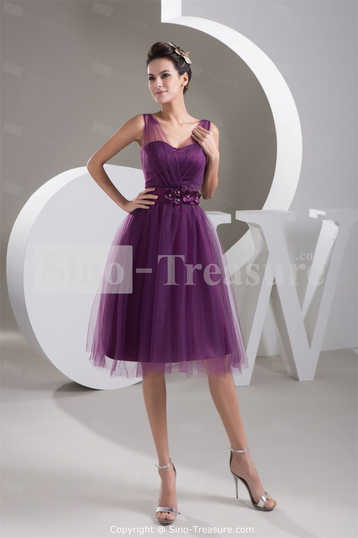 Grape Satin V-neck Illusion Sleeves Knee-Length Bridesmaid Dress -Wedding &  Events