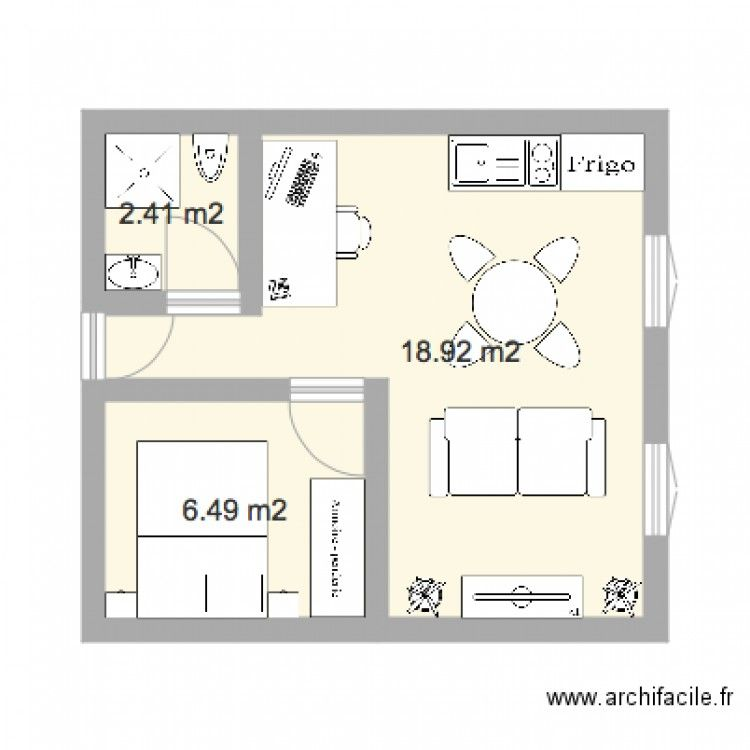 r sultat de recherche d 39 images pour plan studio 30m2. Black Bedroom Furniture Sets. Home Design Ideas