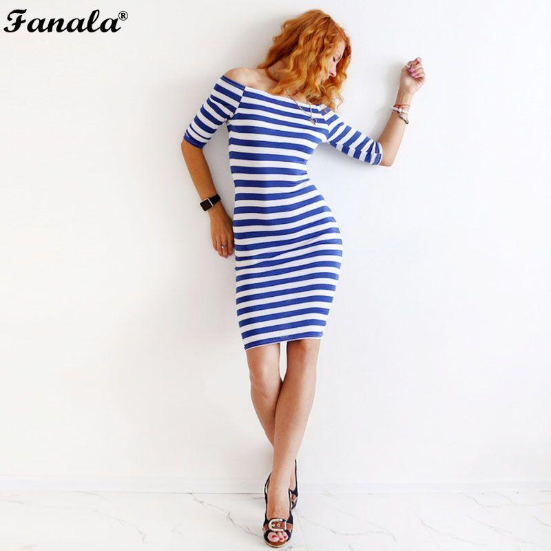 658a05c0316 FANALA Women Bodycon Dress Sexy Summer Dress Plus Size 2017 Off Shoulder  Striped Office Cotton Beach Party Clubwear Wrap Dresses