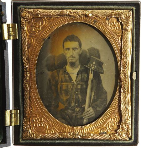 """Rare Sixth Plate Ambrotype: """"Sumter Light Guards"""" Confederate Soldier, ca 1860s...."""