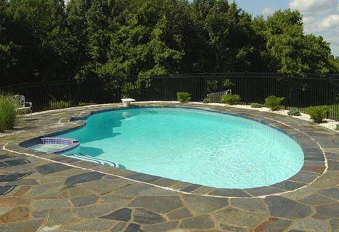 Flagstone Pool Deck | Pool | Flagstone, Pool decks, Decking ...