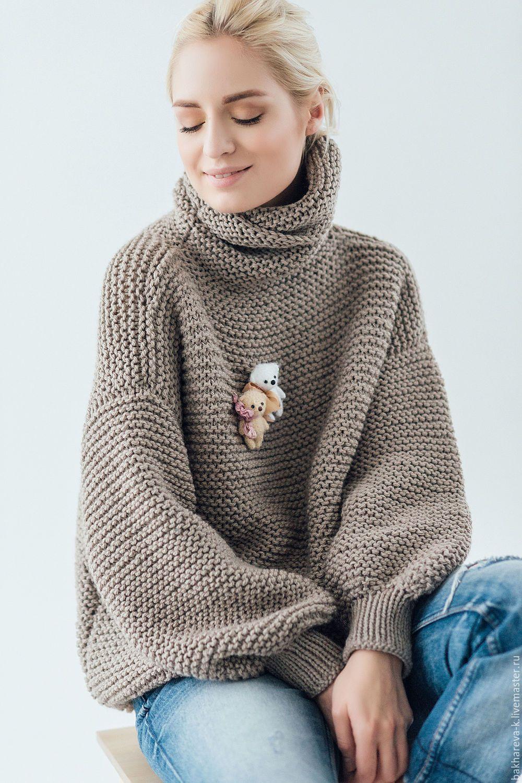 d5a64ef6bf99 объемный свитер с медведем - коричневый, серый цвет, серый, красный ...