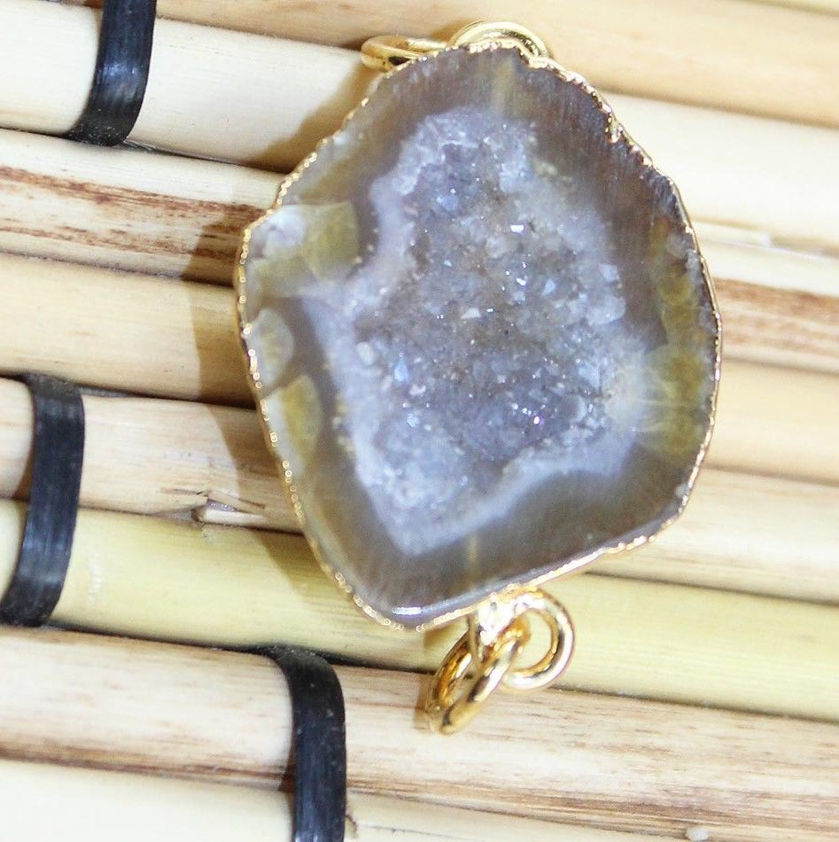Zj-2581 Supar Sale Best Geode Druzy 24k Gold Plated Connector Jewelry  #Unbranded #CasualParty