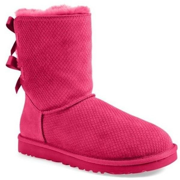 b90ce906650 Pre-Owned Ugg Australia Bailey Bow Boot Pink Suede Exotic Scales Sz ...
