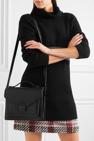 Loeffler Randall Rider Medium Textured Leather Shoulder Bag Black