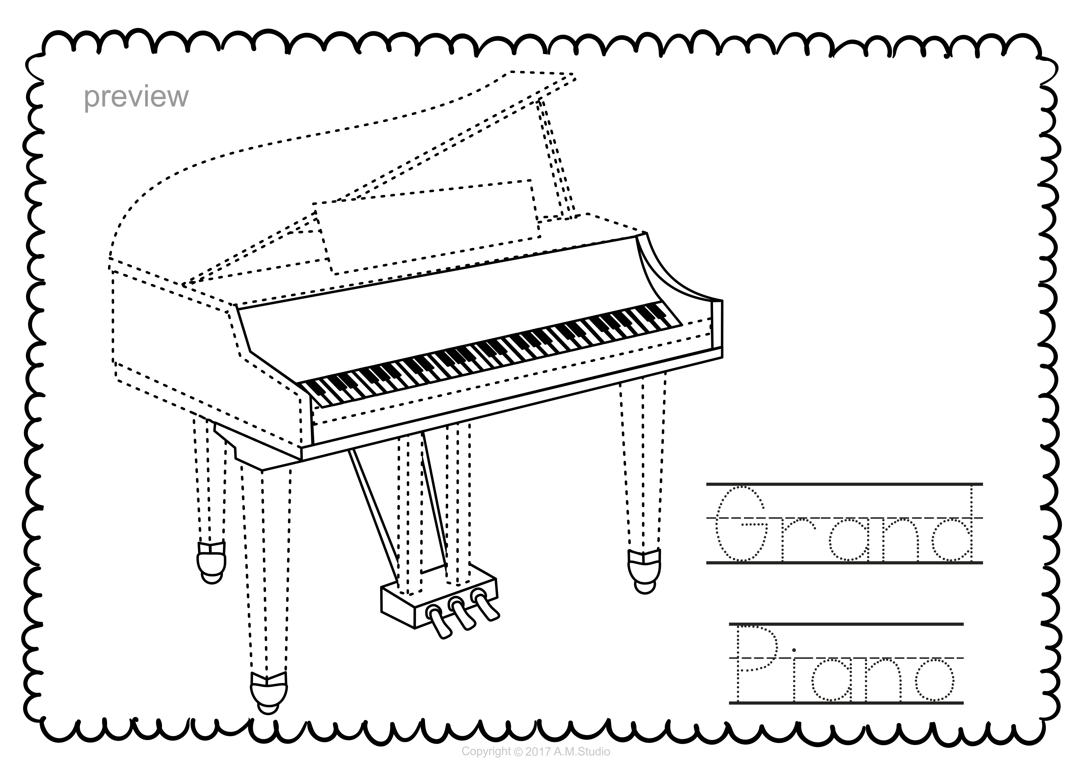 This File In PDF Form Contains 7 Keyboard Musical Instruments Trace And Coloring Pages Each Page An Instrument Picture To Color