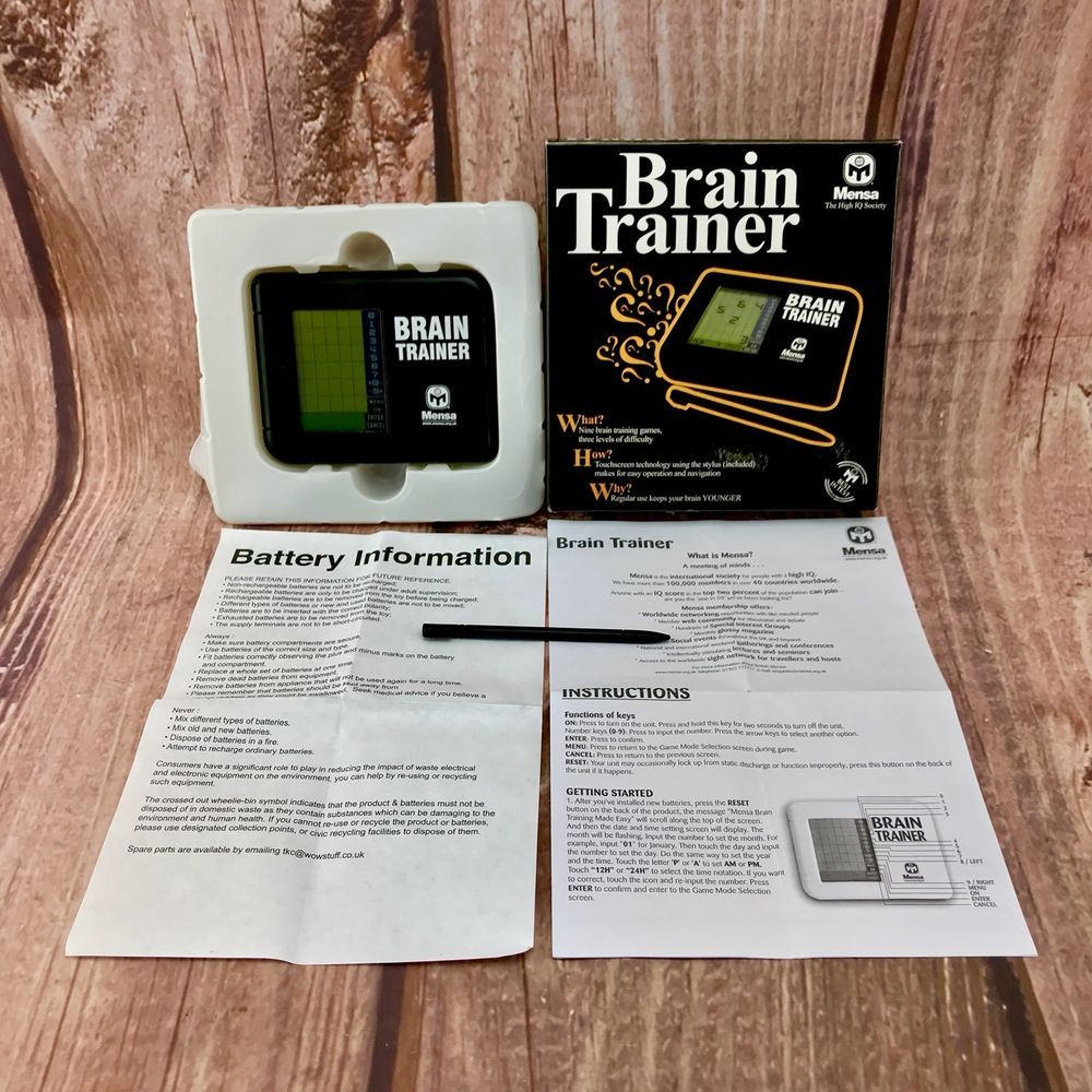Mensa Brain Trainer Game Electronic Iq Training Boxed Handheld Game