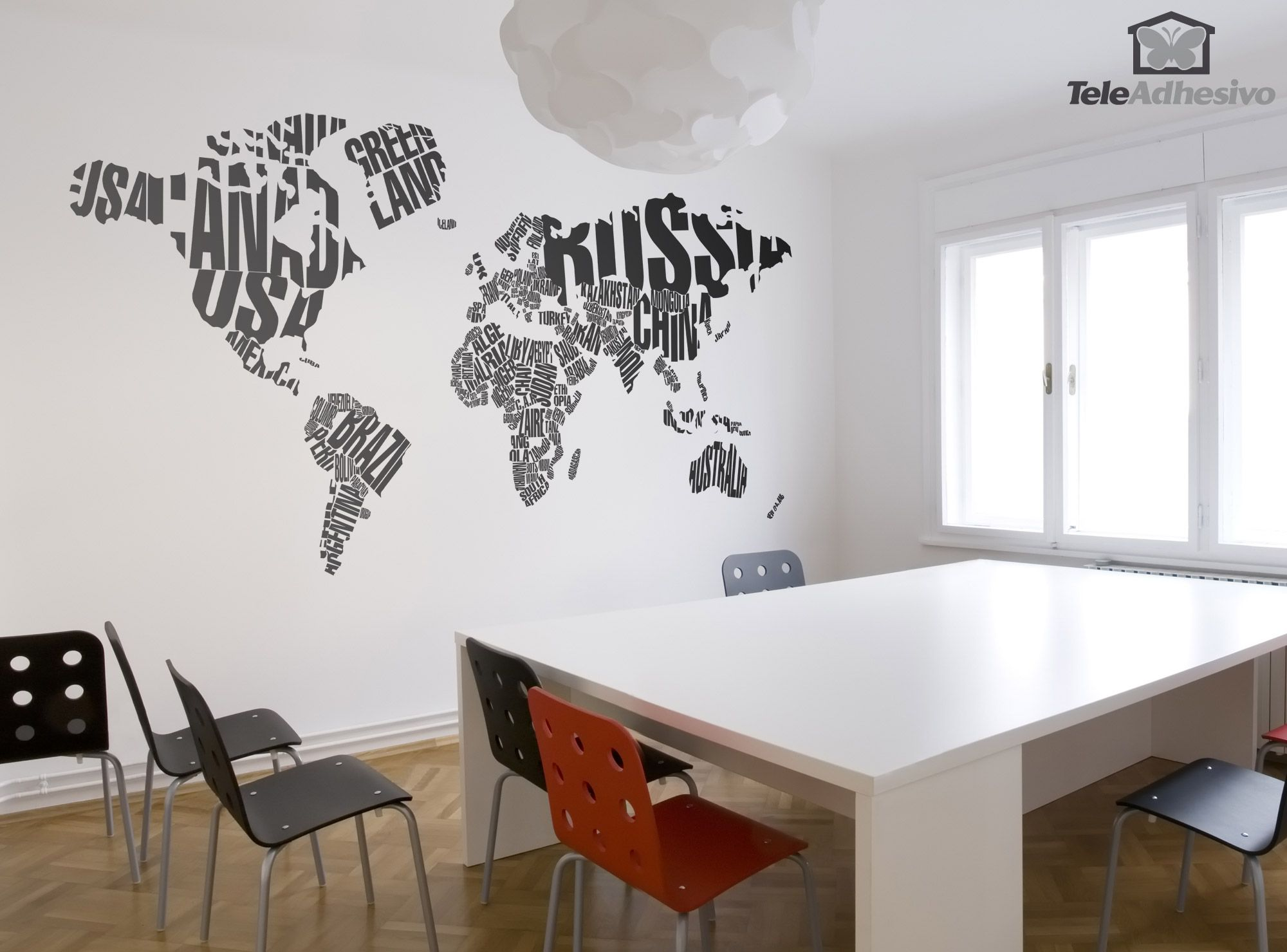 Deco Murale Mappemonde pour stickers muraux carte du monde typographique | tattoos | pinterest