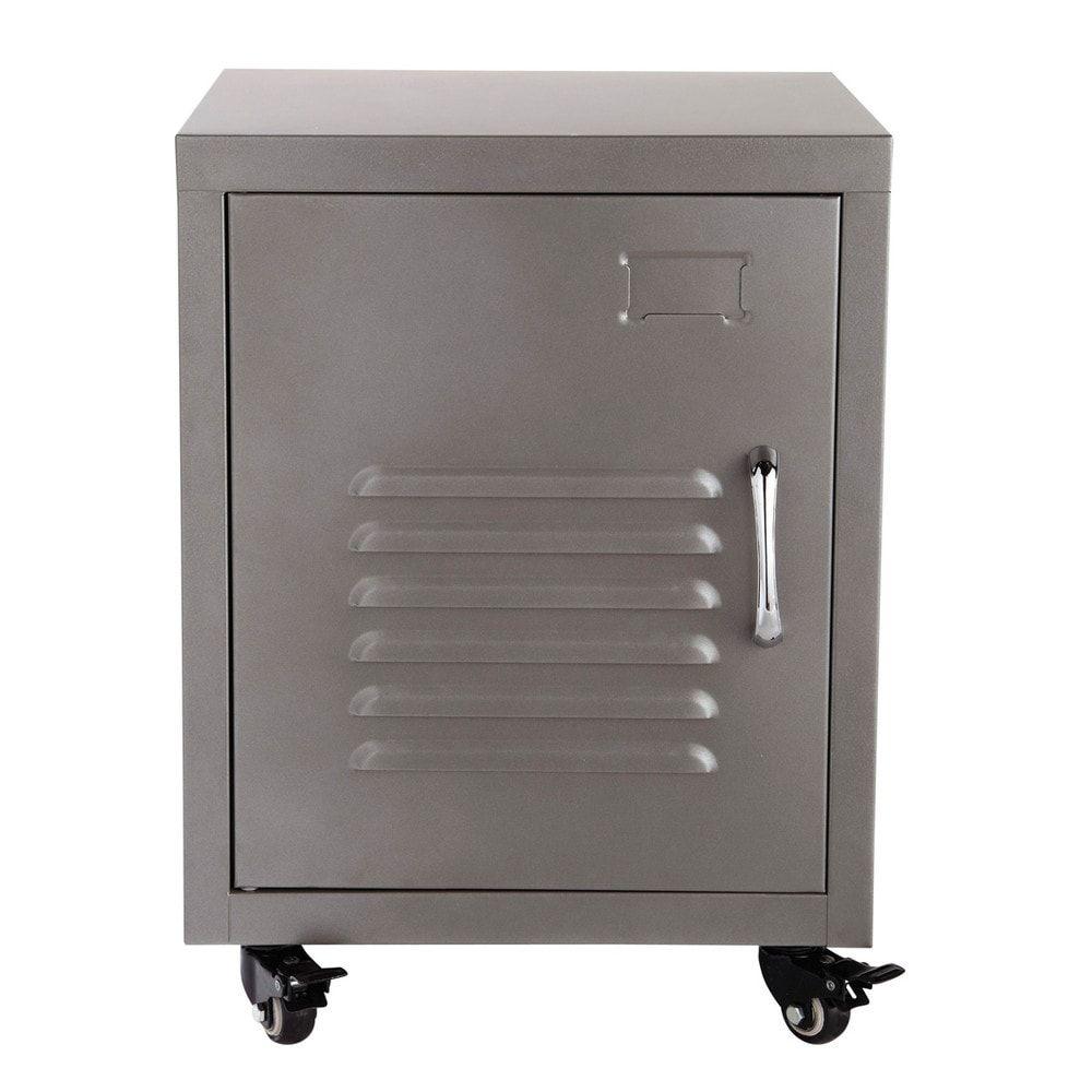 table de chevet roulettes en m tal grise l 37 cm. Black Bedroom Furniture Sets. Home Design Ideas