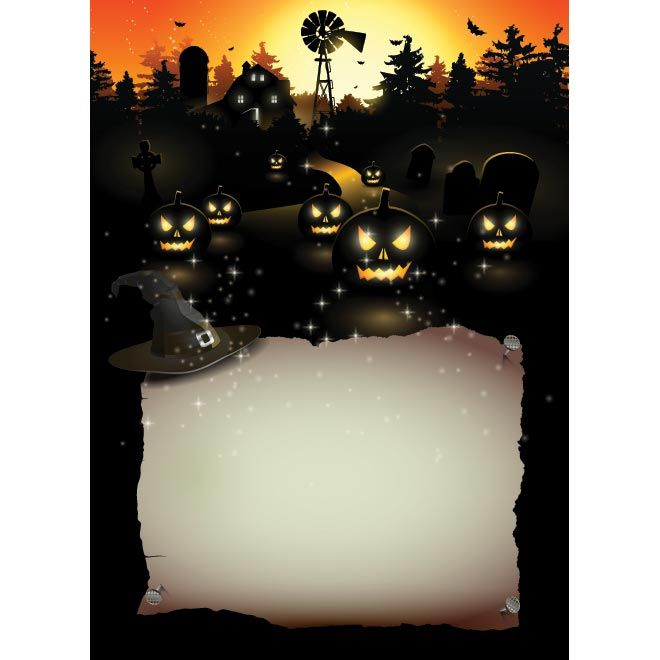 vector black glowing pumpkin with invitation card paper poster