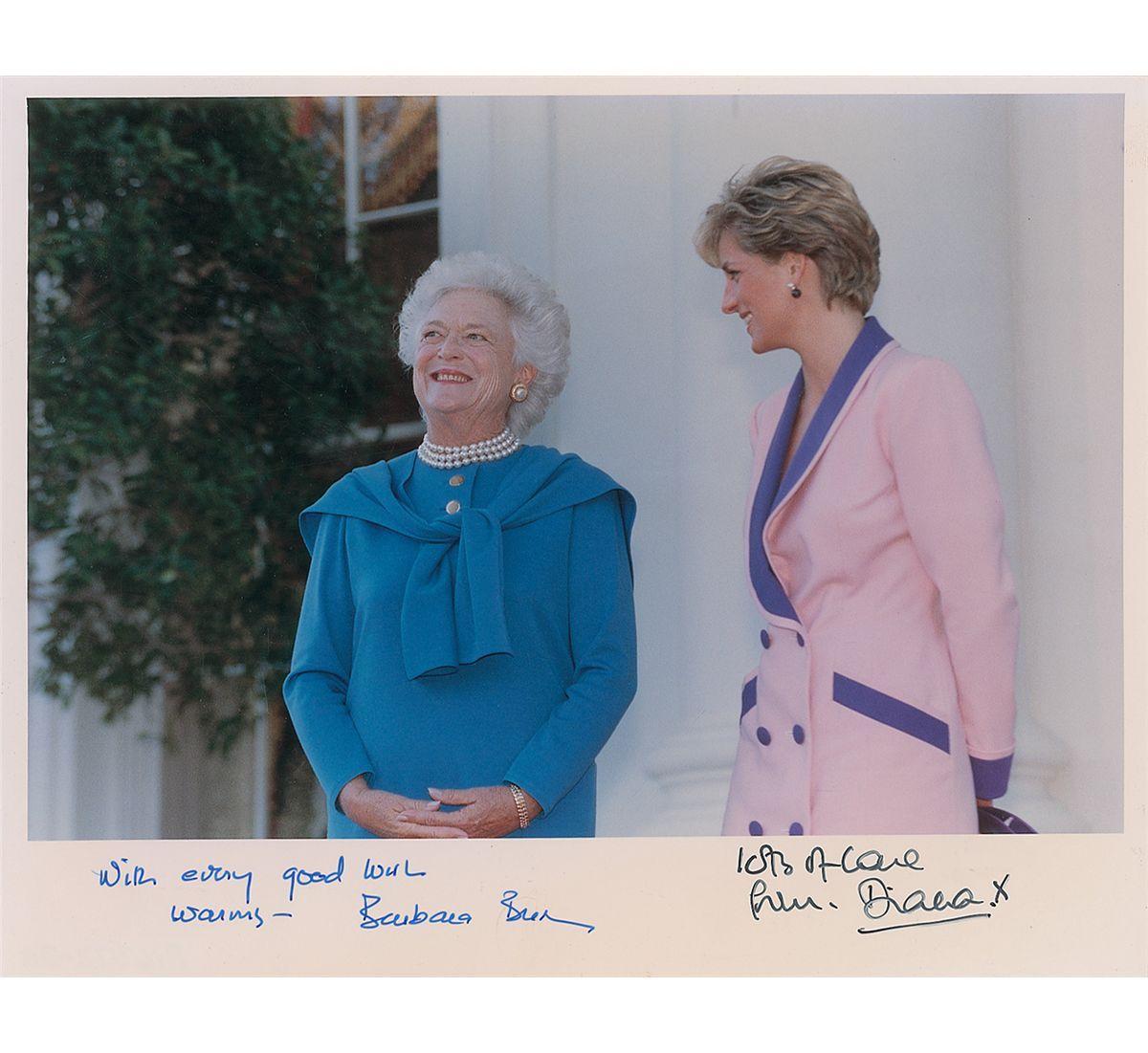 5 October 1990 Washington. Princess Diana and First Lady, Barbara Bush