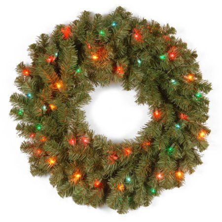 24 inch Kincaid Spruce Wreath with Multicolor Lights, Green
