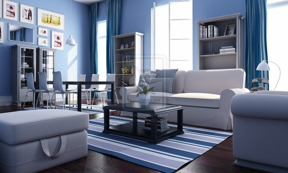 blue black and white living room, red and green blue and orange