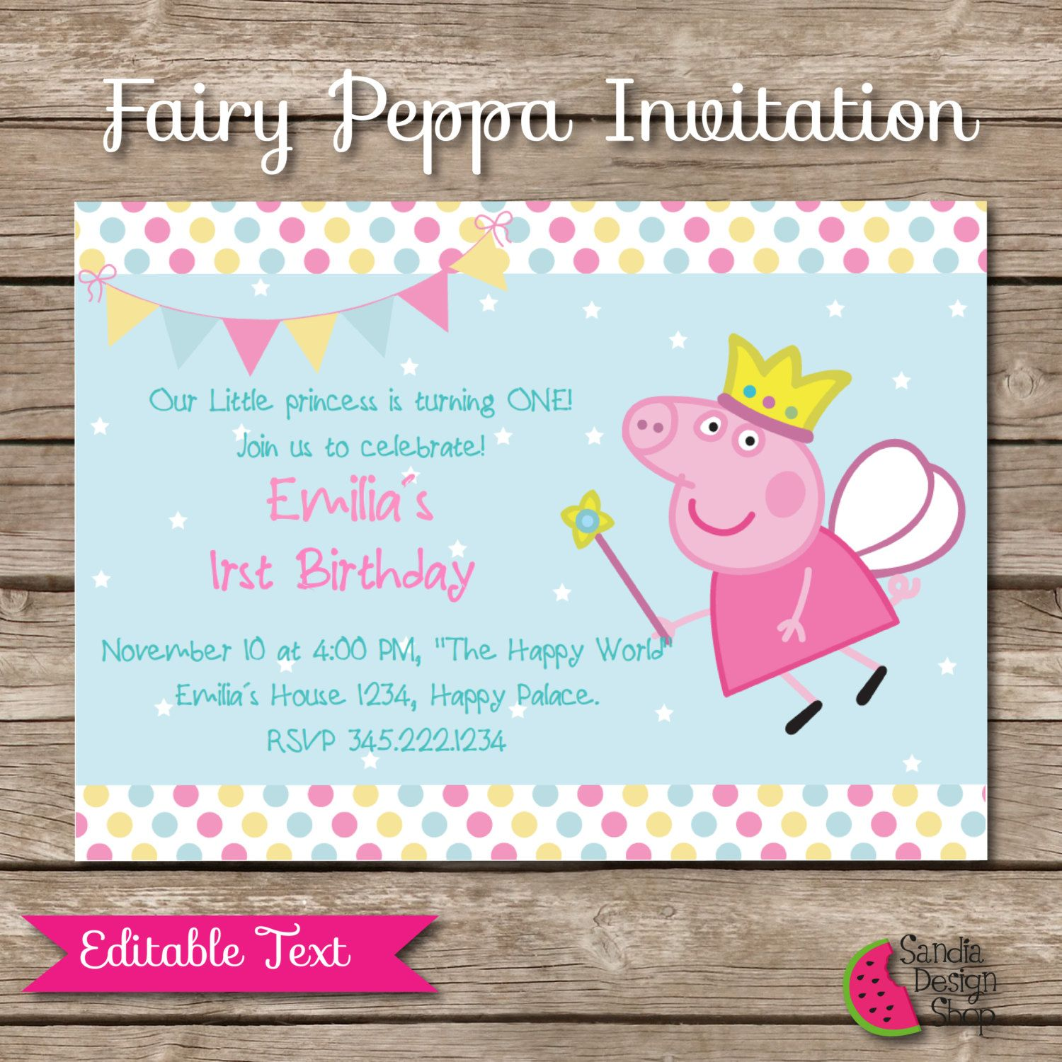 Peppa Pig Printable Birthday Invitation, EDITABLE Text, Fairy ...
