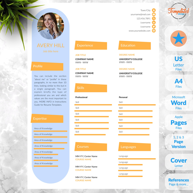 Creative Resume Template For Word Instant Download Cv Etsy Plantilla De Curriculum