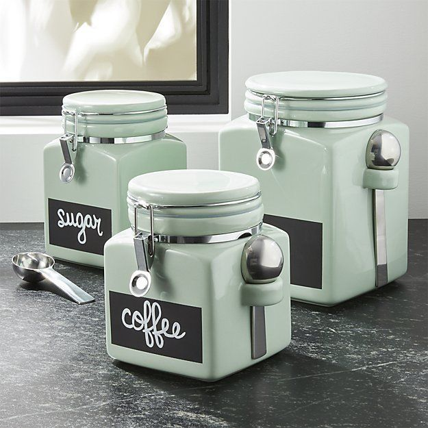 Crate & Barrel Pistachio Clamp Canisters