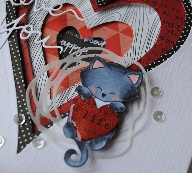 SCRAPPIETOO: Love you.......Cat valentine card - Cat stamps by Newton's Nook designs