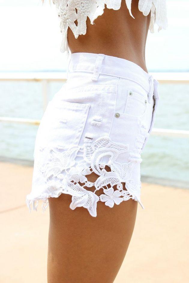 White Denim High-Waist Cut Off Shorts with Crochet Detail.