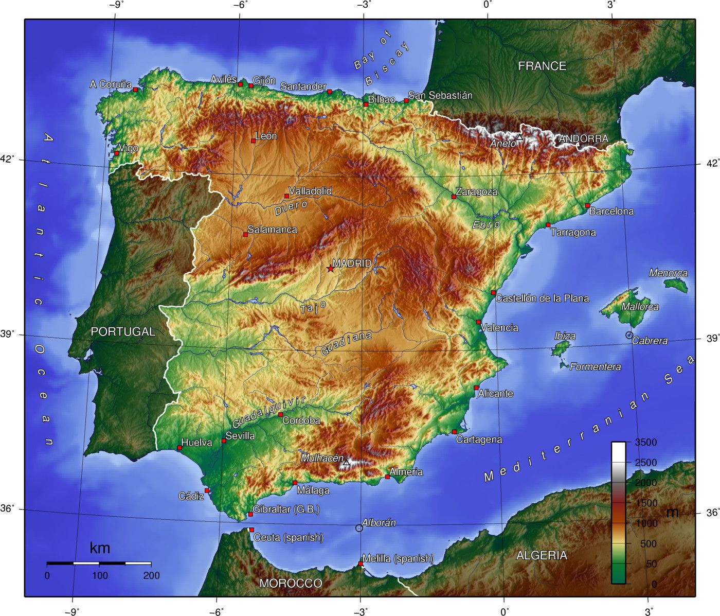 A topographical map of Spain. The Francès route crosses the