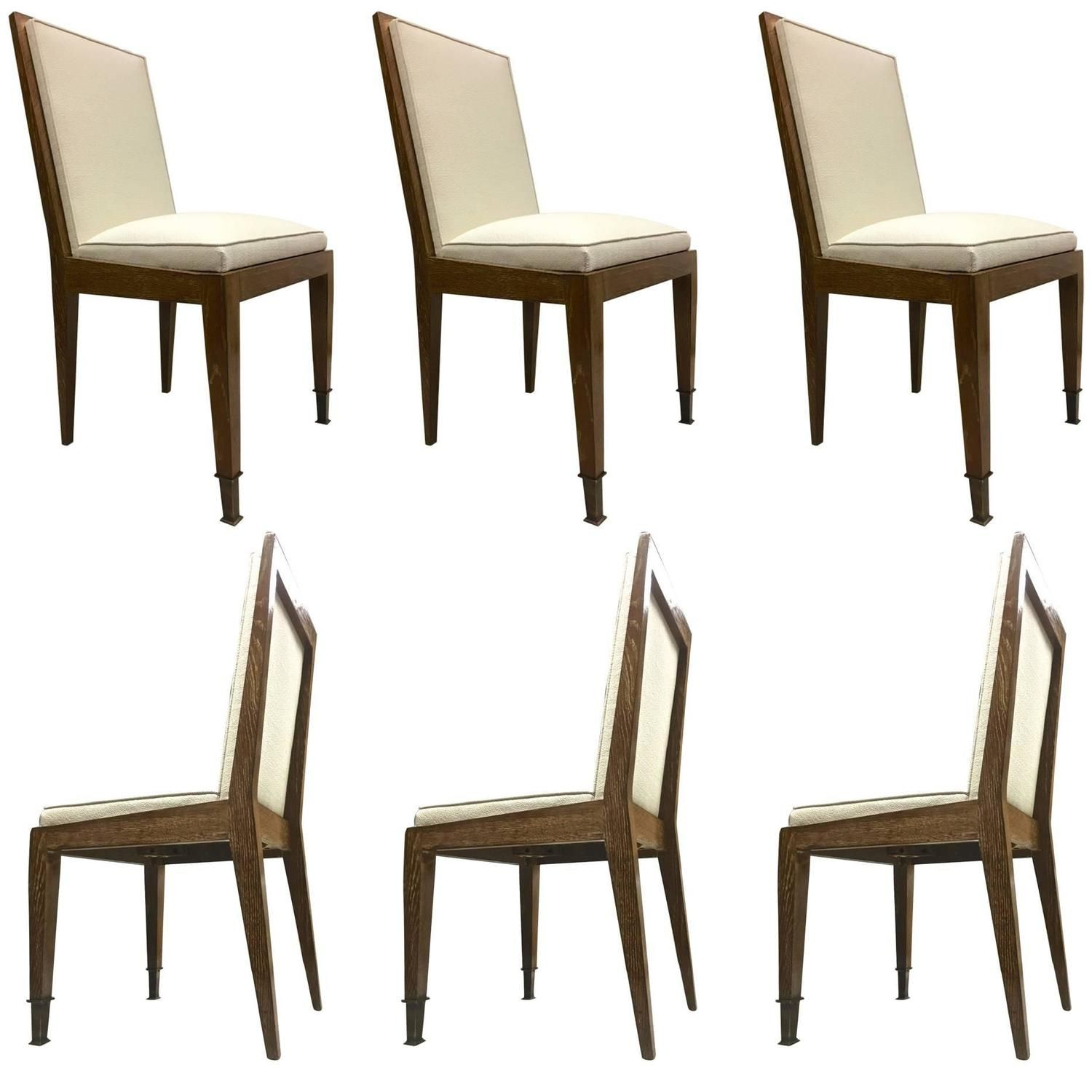 Marc Duplantier Set Of Six Oak Cerused Dining Chairs With Neoclassic End Leg