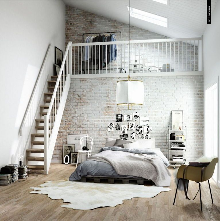 Interior:Vintage Exposed White Brick Wall Bedroom Interior Design With Mezzanine  Level Also Grey Bedding