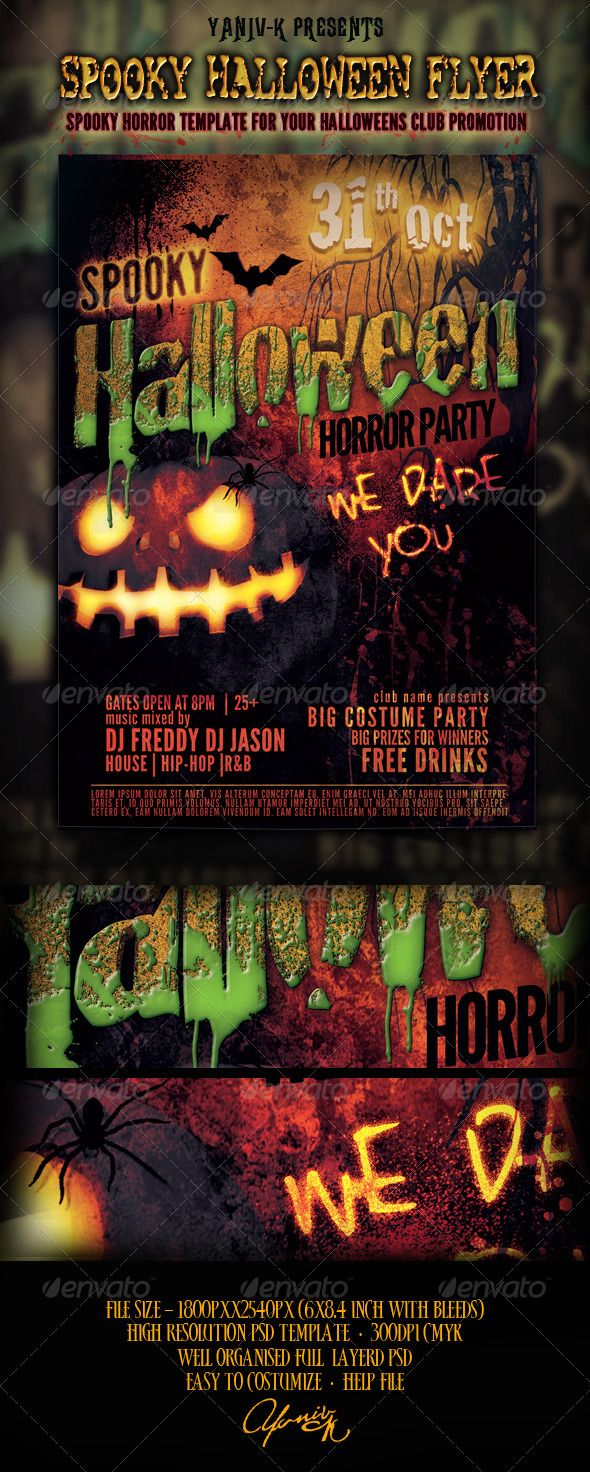 Spooky Halloween Flyer Template ... blood, club, cocktail, costume ...