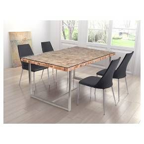 Rectangular 71 Recycled Teak Wood Tempered Glass And Stainless Steel Dining Table Natural Zm Home Chrome Dining Table Dining Table Traditional Dining Room Table