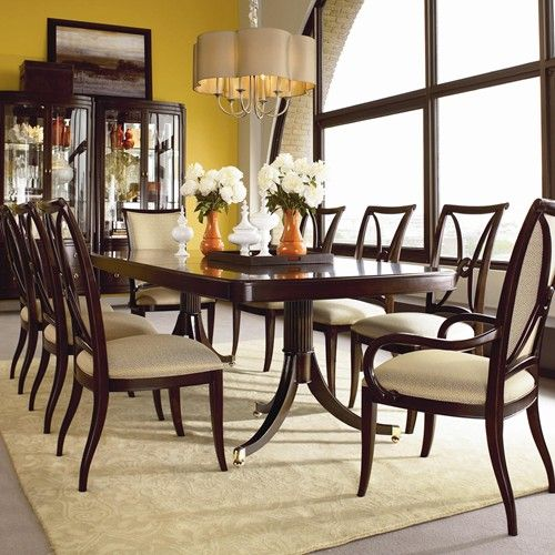 room studio nine piece double pedestal table dining set thomasville sets 1980 furniture prices sale