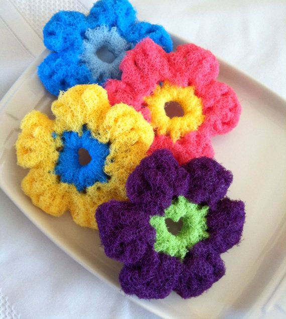 Scrubbies Nylon Pot Scrubber 4 Flower Crocheted Dish Scrubbies